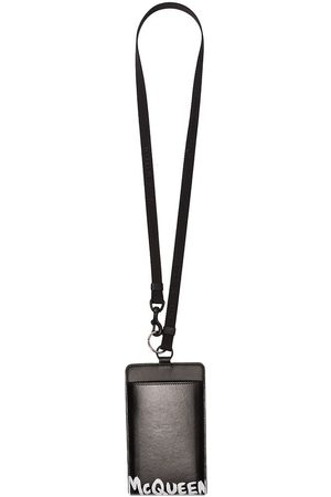 Alexander McQueen Man Mobilskal - Black logo print leather smartphone case