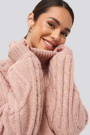 NA-KD Cable Sleeve Knitted Sweater - Stickade tröjor - Rosa - X-Large