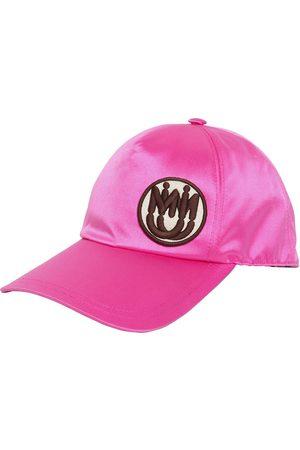 Miu Miu Kvinna Kepsar - Satin Baseball Hat W/ Logo Patch