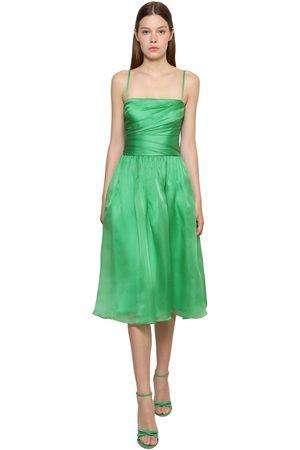 Ralph Lauren Draped Silk Satin Organza Midi Dress