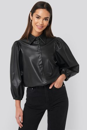 NA-KD Faux Leather Puff Sleeve Shirt
