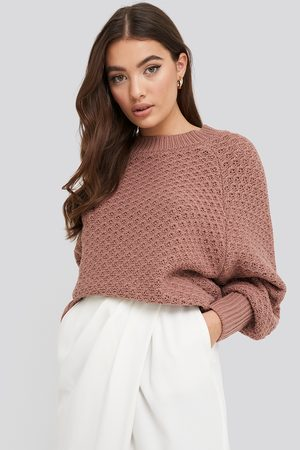 NA-KD Batwing Knitted Sweater - Stickade tröjor - Rosa - Large