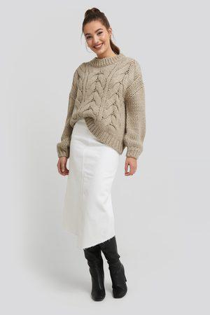 NA-KD Asymmetric Hem Denim Skirt