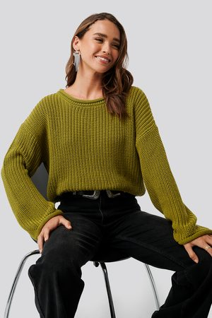 NA-KD Kvinna Stickade tröjor - Cropped Boat Neck Knitted Sweater