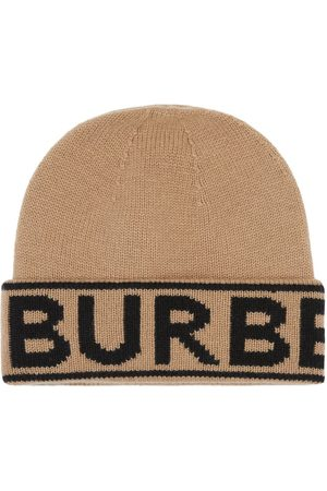 Burberry Intarsiastickad mössa med logotyp