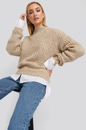 NA-KD Multi Color Wide Rib Knitted Sweater - Stickade tröjor - Beige - XX-Small