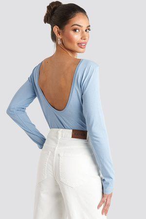 NA-KD Deep Back Long Sleeve Top - Långärmade t-shirts - Blå - Large