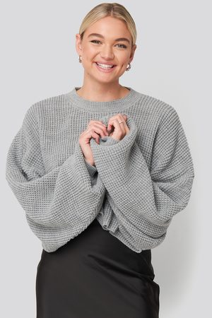 NA-KD Cropped Waffle Knit Sweater - Stickade tröjor - Grå - XX-Large