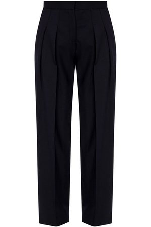 Victoria Beckham Side-stripe pleat-front trousers