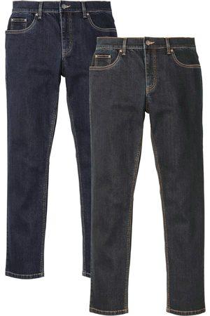 bonprix Stretchjeans, smal passform, med återvunnen polyester, raka ben (2-pack)
