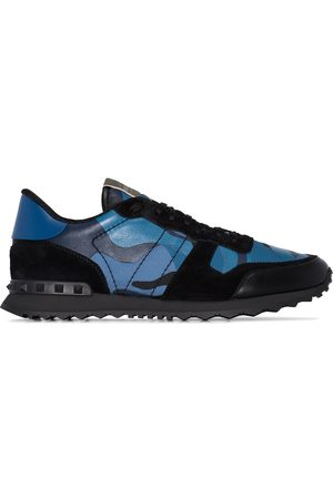 VALENTINO Blue Garavani Rockrunner Camouflage leather sneakers