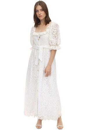 Borgo De Nor Lace Midi Dress W/ Puff Sleeves