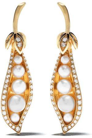 ANNOUSHKA 18kt yellow gold Mythology peapod diamond and pearl earrings