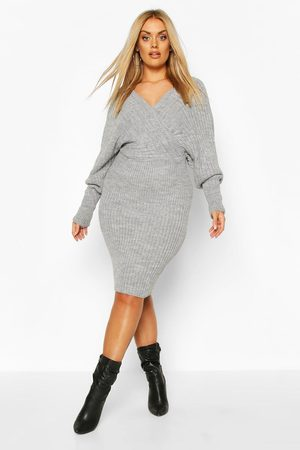 Boohoo Plus Wrap Knittted Midi Dress, Grey
