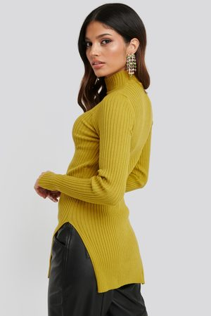 NA-KD Side Split Ribbed Sweater - Stickade tröjor - Gul - Large