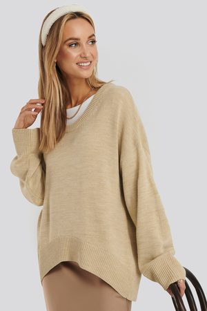 NA-KD Wool Blend Oversized Wide Neck Sweater - Stickade tröjor - Beige - X-Large