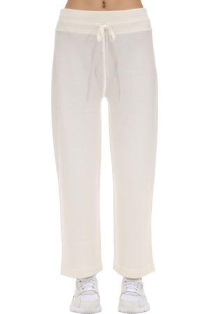 Agnona High Waist Cashmere Blend Wide Leg Pants