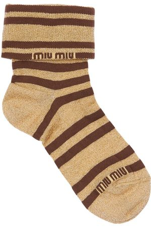 Miu Miu Logo Striped Lurex Socks