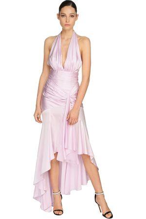 ALEXANDRE VAUTHIER Draped Stretch Satin Long Dress