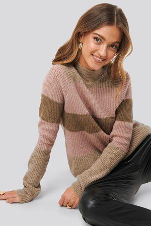 NA-KD Raglan Sleeve Striped Knitted Sweater - Stickade tröjor - Multicolor - Medium