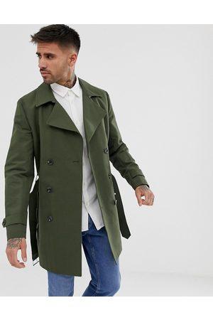 ASOS – Khakifärgad regntålig dubbeknäppt trenchcoat