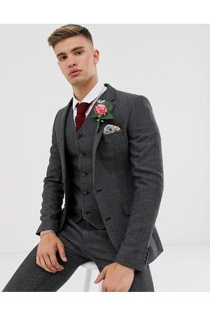 ASOS – Wedding – Mörkgrå kostymjacka i supersmal passform med fiskbensmönster