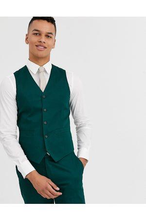 ASOS – Bröllop – Skogsgrön kostymväst i bomull med smal passform