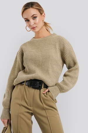 NA-KD Wool Blend Ribbed Knitted Sweater - Stickade tröjor - Beige - XX-Small