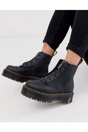 Dr. Martens – Sinclair – Svarta flatform-boots i läder med dragkedja