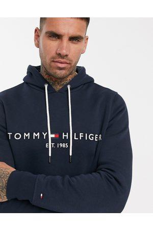 Tommy Hilfiger Man Hoodies - – Marinblå huvtröja med broderad flagglogga