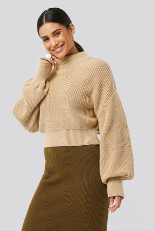 NA-KD Wide Rib Balloon Sleeve Sweater - Stickade tröjor - Beige - Large