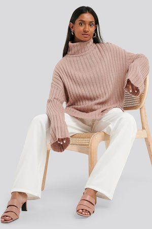 NA-KD Wide Sleeve Rib Knitted Polo - Stickade tröjor - Rosa - X-Small