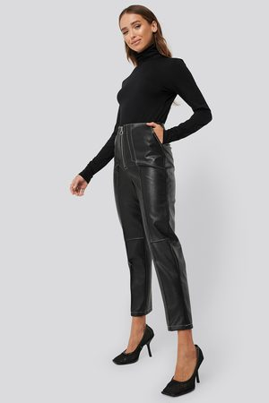 NA-KD Faux Leather Front Seam Pants