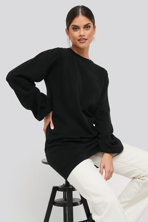 NA-KD Balloon Sleeve Knitted Long Sweater - Långtröjor - Svart - Small