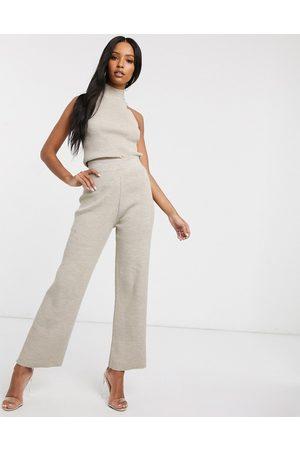 Fashionkilla – Beige stickade byxor med utsvängda ben, del av set-Gräddvit