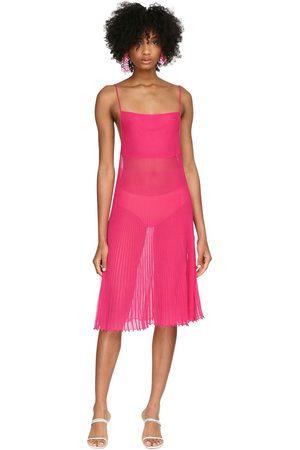 Jacquemus Pleated Sheer Knit Mini Dress
