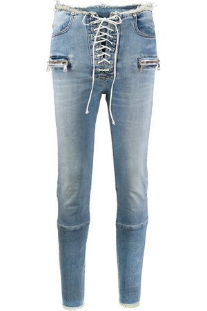 Unravel Project Mid-rise laced skinny jeans