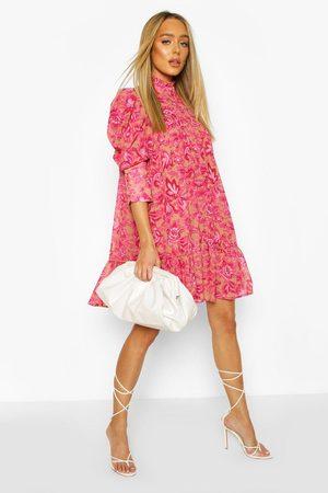 Boohoo Printed Puff Sleeve Ruffle Neck Smock Dress, Pink