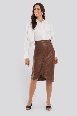 NA-KD Faux Leather Wrap Skirt - Skinnkjolar - Brun - EU 42