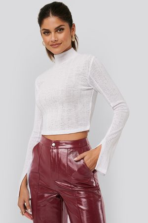 NA-KD Ribbed Slit Sweater - Stickade tröjor - Vit - Medium