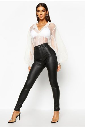 Boohoo High Waist Matte Leather Look Trouser, Black