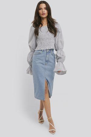NA-KD Front Split Midi Denim Skirt