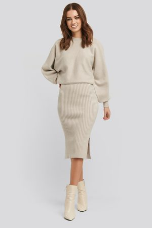 NA-KD Rib Knitted Skirt - Midikjolar - Beige - Small