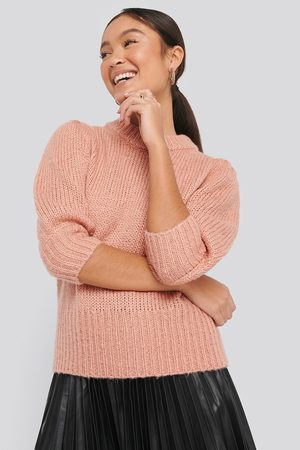 NA-KD Puff LS Round Neck Knitted Sweater - Koftor & Cardigans - Rosa - Small