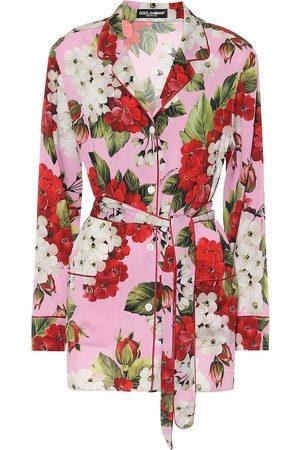 Dolce & Gabbana Floral stretch-silk pajama top