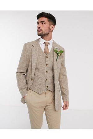 ASOS DESIGN – Bröllop … Kamelfärgad blazer i Harris-tweed och ull med smal passform