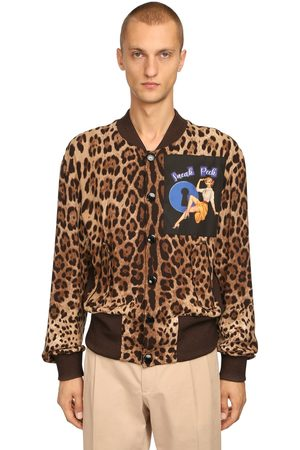 Dolce & Gabbana Leopard Print Poly Bomber W/ Patch