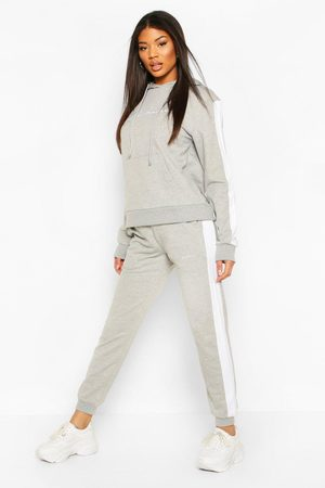 Boohoo Contrast Panel Tracksuit with Woman Embroidery, Grey