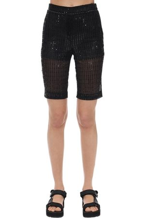We11 Done Glittered Mesh Biker Shorts