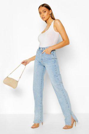 Boohoo High Rise Split Hem Straight Leg Jean